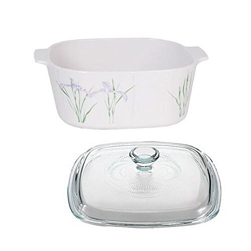 Iris Casserole (Corningware Stovetop Pyroceram Shadow Iris 3L Casserole with Square Glass Cover)