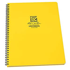 "Rite in the Rain All-Weather Side-Spiral Notebook, 8 1/2"" x 11"", Yellow Cover, Universal Page Pattern (No. 373-MX)"
