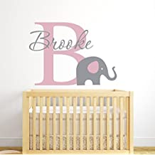 Custom Elephant Name Wall Decal for Girls - Baby Girl Room Decor - Nursery Wall Decals - Elephant Wall Decor Vinyl (26Wx18H) by Lovely Decals World