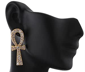 Goldtone with Clear Iced Out Ankh Cross Stud Earrings (R-2501)