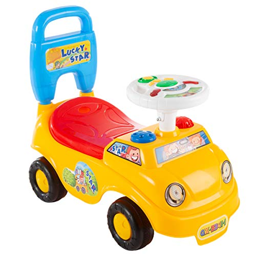 Lil' Rider Ride On Activity Car- Toy Rideon Push Walking Car with Steering Wheel, Lights, Sounds, Music for Babies, Toddlers Learning to Walk