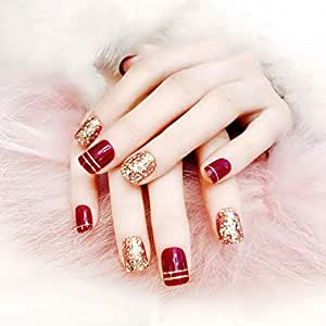 LANGMAN Uñas Postizas 24 Unids/Set Elegante Moda Fake Toe Nails ...