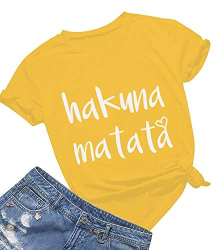 - Women's Hakuna Matata T-Shirt Cute Letter Print Short Sleeve Tee Top Funny Graphic T-Shirt (L, Yellow01)
