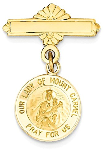 ICE CARATS 14k Yellow Gold Our Lady Of Mount Carmel Medal Pendant Charm Necklace Pin Religious Mt Fine Jewelry Gift Set For Women Heart by ICE CARATS