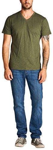 ToBeInStyle Men's Short Sleeve V-Neck Slub Cotton T-Shirt - Olive - (Striped Slub V-neck Top)