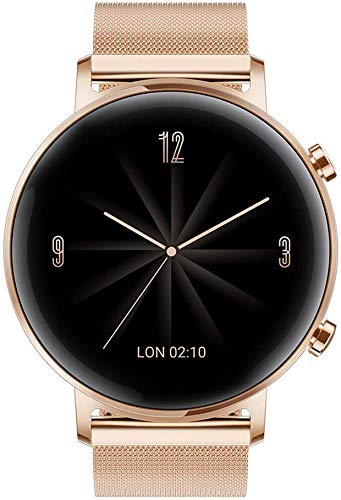 HUAWEI Watch GT 2 (42 mm) Smart Watch, 1.2 Inch AMOLED Display with 3D Glass Screen, 1 Week Battery Life, GPS, 15 Sport Modes, 3D Glass Screen, Real-time Heart Rate Monitoring Smartwatch, Refined Gold