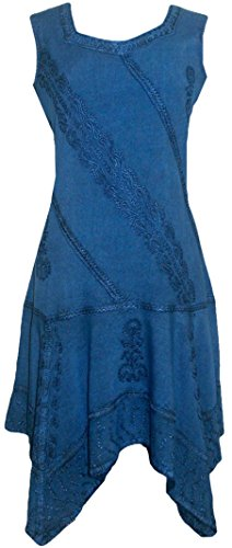 Agan 1015 Asymmetrical Funky Dress Peasant Blue Short Hem Traders DR Womens Gypsy rgrHwq