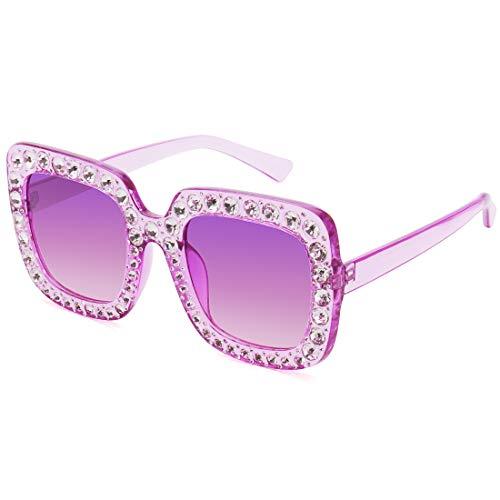 Elton John Glasses Square Rhinestones Sunglasses Oversized Diamond Shades (Purple, ()