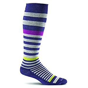 Sockwell Women's Orbital Stripe Graduated Compression Socks, Concorde, Small/Medium