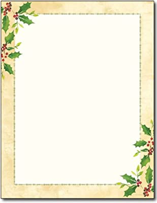Falling Holly Holiday Stationery - 80 Sheets