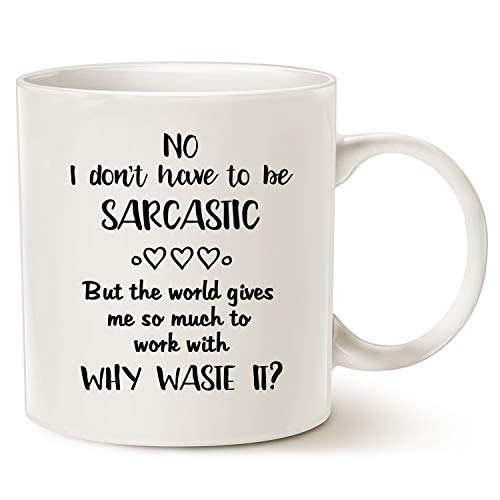 Mothers Day and Fathers Day Funny Coffee Mug Christmas Gifts, Hilarious Why Waste Sarcastic Opportunity Best Home and Office Gifts for Friend Cup White, 14 Oz