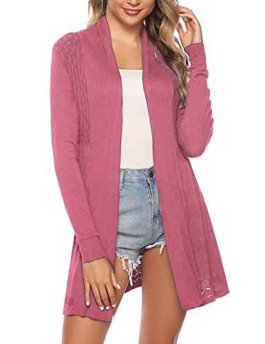 iClosam Womens Casual Long Sleeve Open Front Cardigan Knit Sweater (Rose Pink, Large)