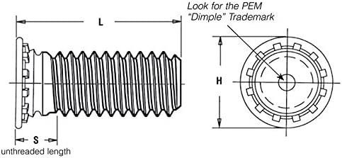 Pem Self-Clinching Threaded Studs Metric FHS-M4-20 Type FH//FHS//FHA