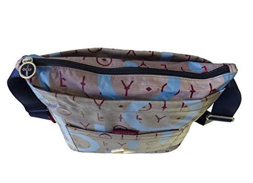 Oilily Lori Shoulderbag MVZ Grey Damen Schultertasche Umhängetasche Grau(29x24,5x11 cm)