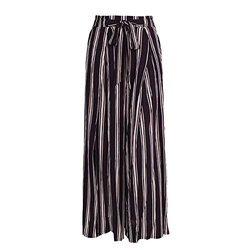 Autumn shallow Fate Striped Lady Wide Leg Pants Beach High Waist Trousers Chic Sash Casual Pants,Stripe1,S