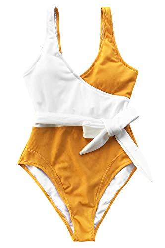 (CUPSHE Women's Happy Ending Solid One-Piece Swimsuit Beach Swimwear Bathing Suit (Medium (USA 8/10), Yellow/White))