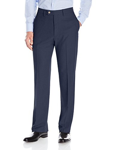 Haggar Men's Expandomatic Stretch Classic Fit Plain Front Dress Pant, Navy Heather, (Navy Blue Dress Pants Slacks)