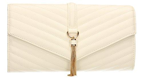 SwankySwans Temperley - Borsetta da donna, in pelle, design con cuciture a V, ideale per feste di laurea o matrimoni White