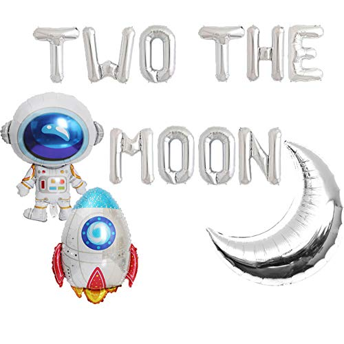 Two the Moon Balloons, 2 the Moon Space Birthday Party Banner, Galaxy Astronaut Space Man Robot UFO Theme baby 2nd Birthday Party Supplies Decoration (Ufo Balloon)