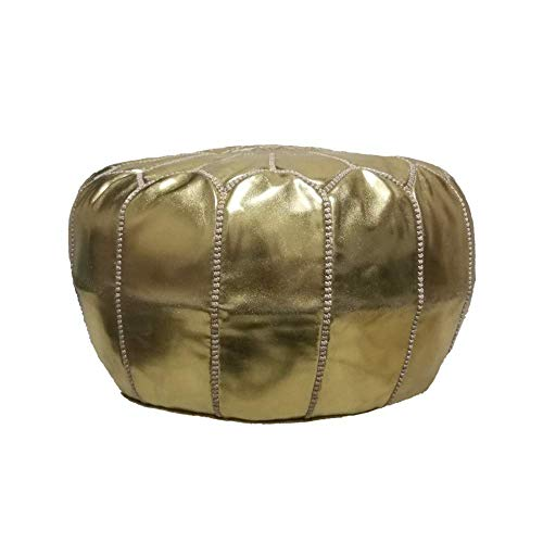 Moroccan Handmade Eco-leather Synthetic pouf ottoman round footstool color Gold - Eco Leather Ottoman