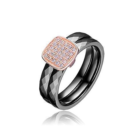 Black 2 Row Ceramic CZ Center Rose Ring (G Shock G 56)