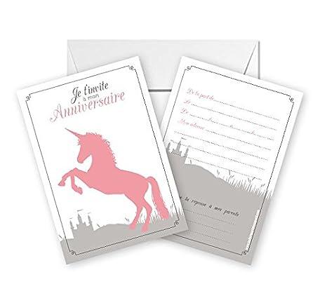 Carte Invitation Anniversaire Licorne.Lot De 5 Cartes D Invitation Anniversaire Theme Licorne