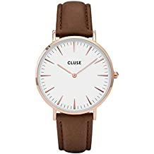 CLUSE La Bohème Rose Gold White Brown CL18010 Women's Watch 38mm Leather Strap Minimalistic Design Casual Dress Japanese Quartz Elegant Timepiece