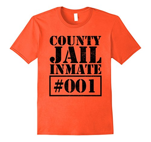 County Jail Inmate Costume (Mens Prisoner Costume T-Shirt Funny County Jail Inmate Escaped Large Orange)