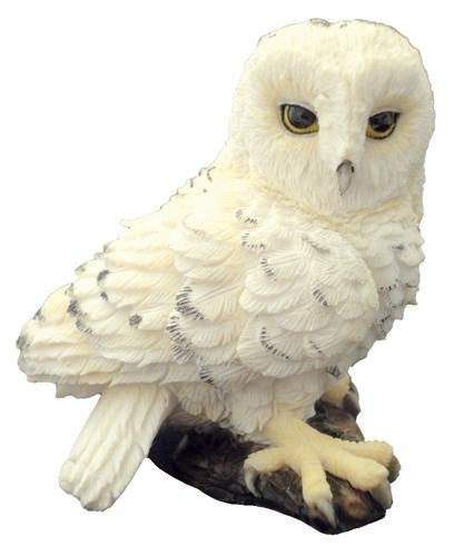 Resin Painted (2.5 Inch Hand Painted Resin Mini Snowy Owl Perch on a Log Statue)
