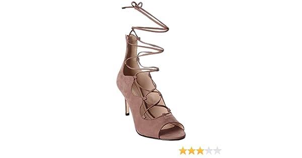 KLUB NICO Matilda Mauve Blush open-toe sandal tie up slim stiletto heel Bootie