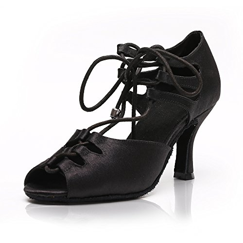 DLisiting Latin Dance Shoes Women Black Satin Lace up Salsa Ballroom Shoes (US7) by DLisiting