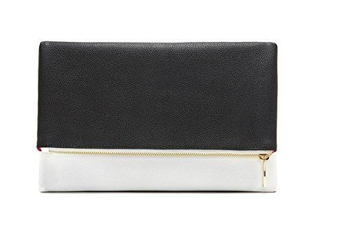 Limited Time Sale Reversible Metallic Fold-Over Fashion Clutch Purse, Elegant Designer Evening Clutch for Women (Black & White) - MSRP $69 (Black & White Purse)