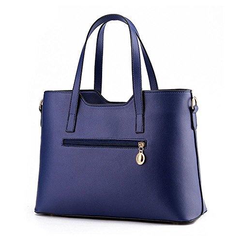 Ladies Dark Women's Bag Tote Blue Faux Black Handbags Shopper Large Shoulder Sine90 Leather Designer d75Sdqw