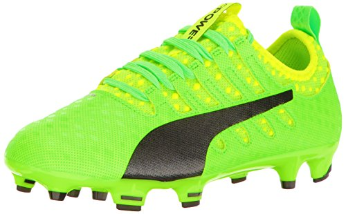 PUMA Kids' Evopower Vigor 1 FG Jr Skate Shoe, Green Gecko Black-Safety Yellow, 5 M US Big Kid by PUMA