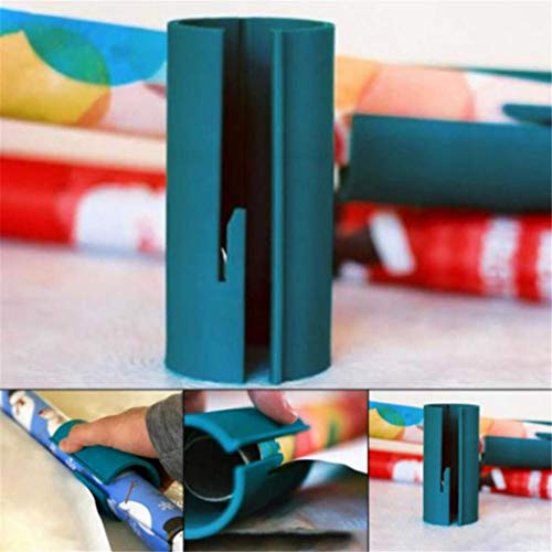 Sliding Wrapping Paper Cutter for Christmas and Birthdays, Unique Christmas Wrapping Paper Cutter Tool, Safer Easier Cuts Perfect Line Wrapping Paper Roll Cutter, Organizer of Gift Wrap Rolls (Green) for $<!--$8.99-->