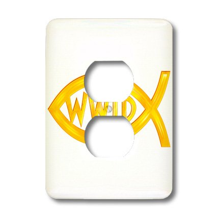 3dRose lsp_41767_6 Christian Fish Symbol - Wwjd (Gold) 2 Plug Outlet Cover