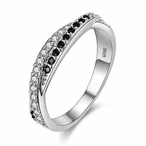 Uloveido Criss Cross X Silver Plated CZ Crystal Eternity Rings Wedding Band Y022-White Black-5