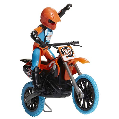 MXS Motocross Bike Toys Moto Extreme Sports, Bike & Rider with SFX Sounds by Jakks Pacific Action Figure Playsets – #20 Orange & Blue Rider, for Kids Ages 5+