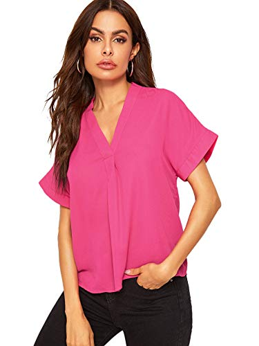 Romwe Women's Elegant Solid Stand Collar Cap Sleeve Blouse Shirt Top Hot Pink - Pink Hot Stand