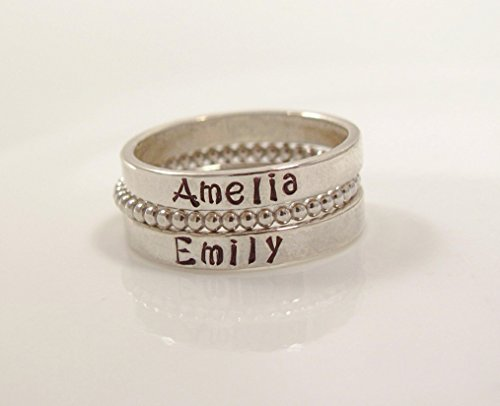 Personalized Sterling Silver Stackable Name Ring- personalized ring SET OF 3 -Hand Stamped Ring -Sizes 5-10-Kristin ()