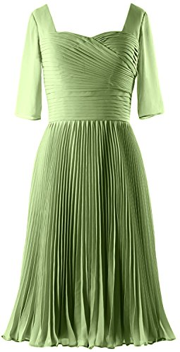 MACloth Women Half Sleeves Mother of Bride Dress Chiffon Cocktail Formal Gown clover