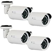 GW Security Set of (4) 1200TV Line Surveillance Outdoor CCTV Security Camera with Power Adapter Kit