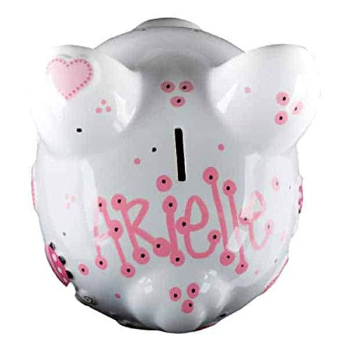 - Pink Ladybug Girls Piggy Bank - Large - (Personalized & Custom With Name And Year) (First Financial Toy For Teaching Boys & Girls About Saving Money) (Perfect Unique Gift Idea For Babys 1st Birthday)