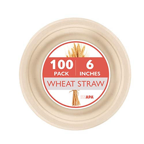 (100 Biodegradable Disposable Plates - 6 Inch Compostable & Microwavable Wheat Straw, Tree Free Plates for Dessert or Appetizer, Bulk Set )