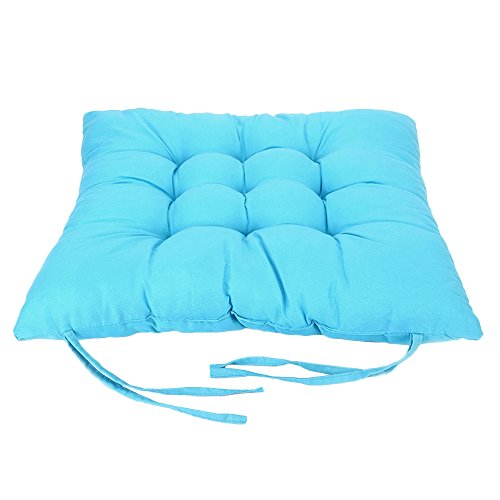 FENTI Polyester Solid Color Chair Pad with Ties, Ultra Soft - Dual Use, Seat Pad Back (14 x 14, Blue) (Cheap Settee For Sale)