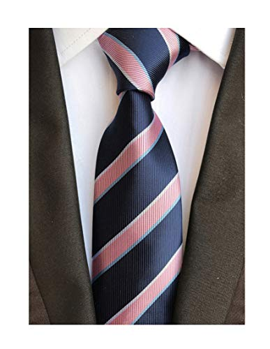 Men's Pink and Navy BLUE Ties Striped Patterned Graduation Student Silk Neckties]()