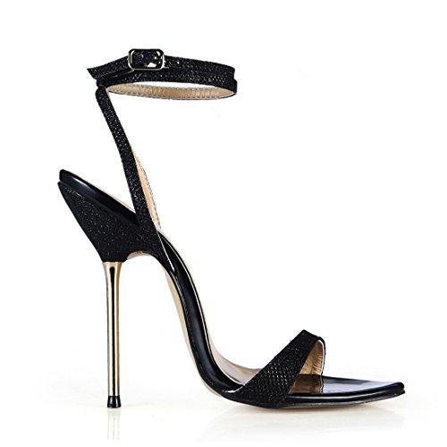 Donna Caviglia Moda Cinturino Tacco a CHAU Tacco alla Sexy Scarpe Nero Metallo Partito Alto Spillo a Sandali da glittering CHMILE OTgtxZO