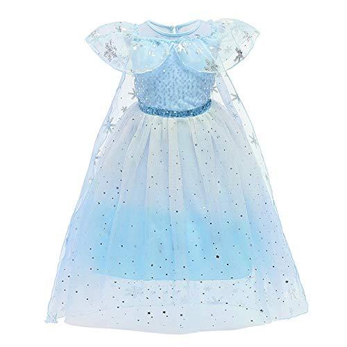Meisjesprinses Elsa Anna sneeuwkoningin jurk voor kinderen, tule kostuum, Kerstmis, Halloween, ijsprinses…