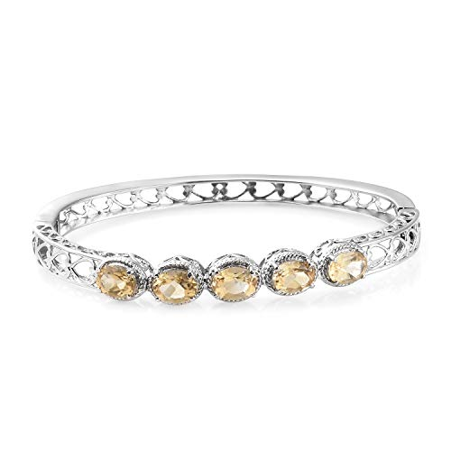 Shop LC Delivering Joy Stainless Steel Oval Citrine Bangle Cuff Bracelet for Women 7.25