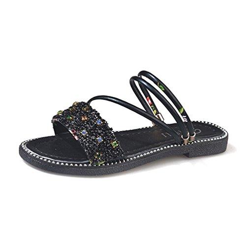 フラットサンダル レディース靴 ゴムソールサンダル 歩きやすい ローヒール オシャレ 可愛い ラインストーン 黒い 異素材 フィットサンダル 軽い 普段使い 調節可能 アウトドア ブラック ホワイト 柔らかい 夏シューズ ビーチサンダル